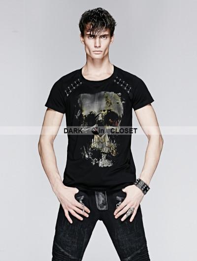Punk Rave Black Gothic Metal Man T-shirt with Skull Printing