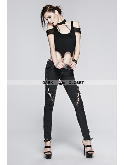 Punk Rave Black Gothic Punk Knit T-shirt With Collar For Women
