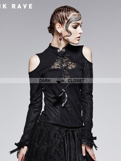 Punk Rave Gothic Black Stand-up Collar Retro Off-shoulder T-shirt For Women