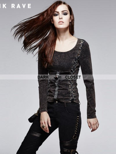 Punk Rave Vintage Wash Gothic Punk Female T-shirt