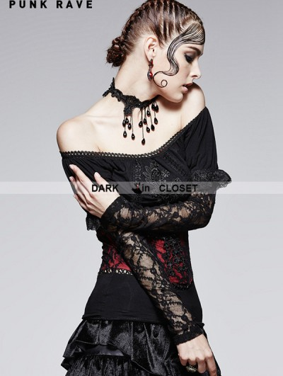 Punk Rave Romantic Gothic Black and Red Two Wear T-shirt for Women