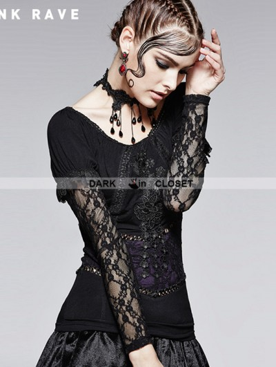 Punk Rave Romantic Gothic Black and Violet Two Wear T-shirt for Women