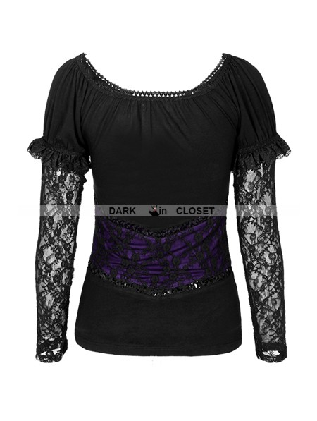 Punk Rave Romantic Gothic Black And Violet Two Wear T