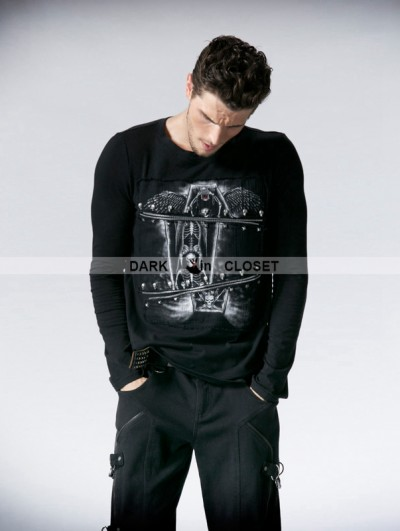 Punk Rave Black Gothic Printing Man T-shirt with Segmental Zipper