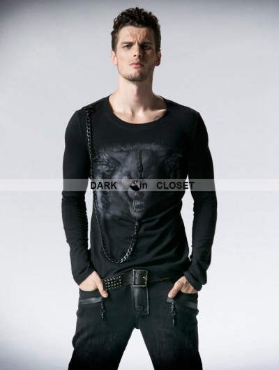 Punk Rave Black Gothic Man Long Sleeves T-shirt with Wolf Printing