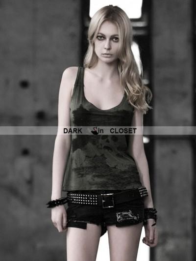 Punk Rave Dark Green Gothic Punk Women Skull Pattern Vest