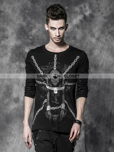 Punk Rave Male Gothic Black T-shirt with Binded Skull Pattern