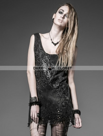 Punk Rave Black Gothic Punk Hole Vest with Abstract Printing For Women
