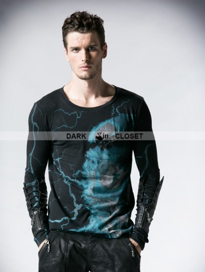 Punk Rave Gothic Tee with Berets Skeleton Lightning Design For Men