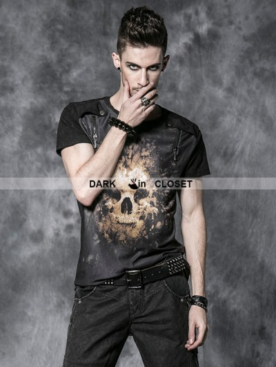 Punk Rave Black Gothic Men Short Tee with Digital Printing and Wash By Old Way