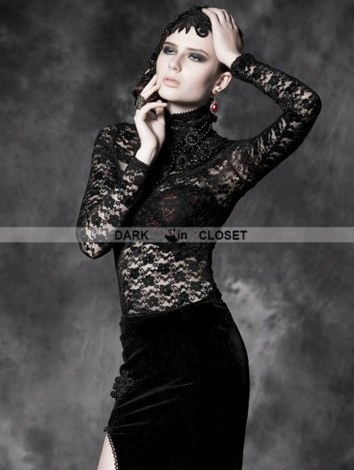 Punk Rave Black Gothic Flocking T-shirt With See-through Lace For Women