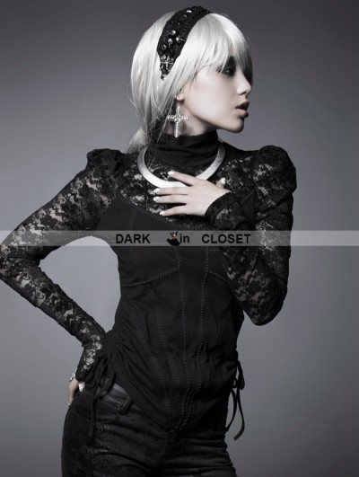 Punk Rave Black Gothic Tight-body Pattern High Collar T-shirt For Women