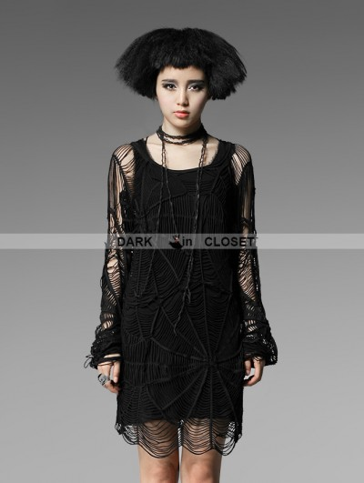Punk Rave Black Gothic Long T-shirt With Punk Cobweb For Women