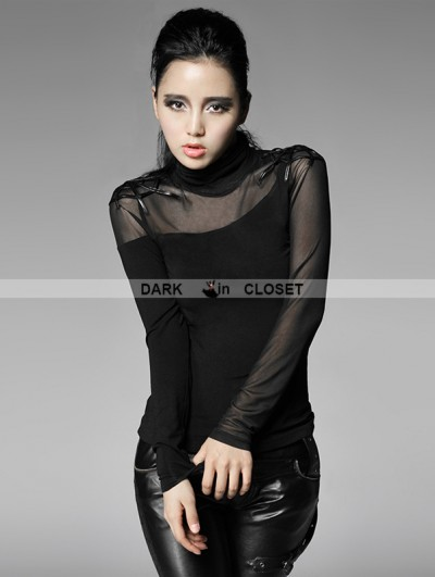 Punk Rave Women Black Gothic Bottoming Shirt with Spider Web On Shoulder