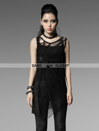 Punk Rave Black Gothic Punk Loose Version Cobweb Vest For Women