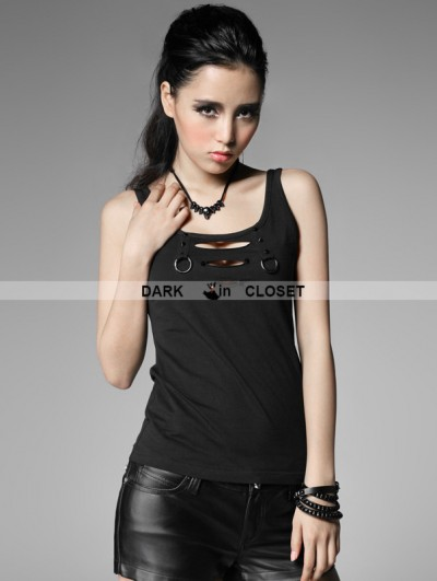Punk Rave Black Gothic Punk Vest with Broken-hole For Women