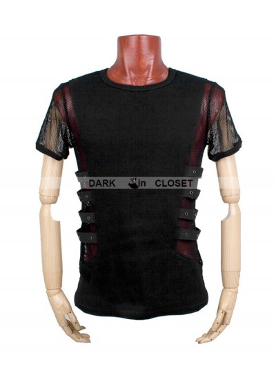 Punk Rave Black Gothic Punk Personality T-shirt For Men