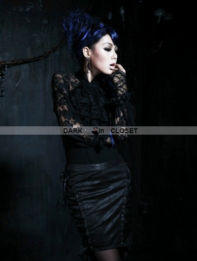 Punk Rave Black Gothic Punk All-match Lace T-shirt with Gloves For Women