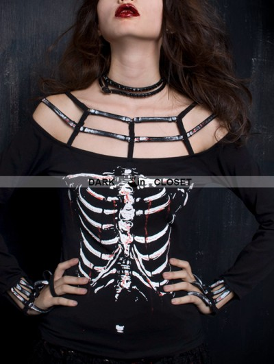 Punk Rave Black Gothic Punk Printing Long Sleeves Off-shoulder T-shirt For Women