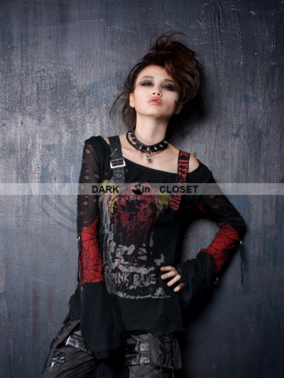 Punk Rave Black-red Gothic Punk Off-shoulder T-shirt For Women