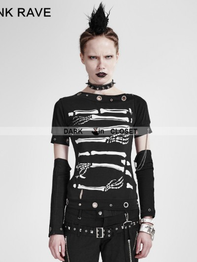 Punk Rave Black Gothic Punk Cool Summer T-shirt For Women