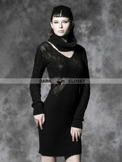 Punk Rave Black Gothic Hollow Sweather Dress