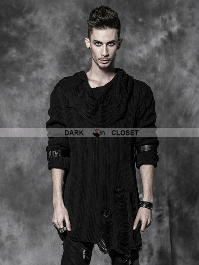 Punk Rave Black Gothic Man Punk Sweather With Broken-hole