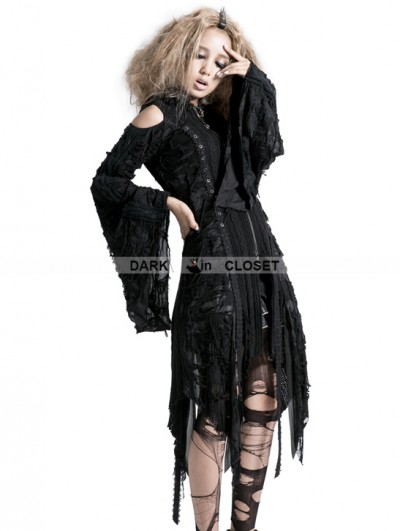 Punk Rave Black Gothic Decadent Worsted Hooded Jacket With Hole