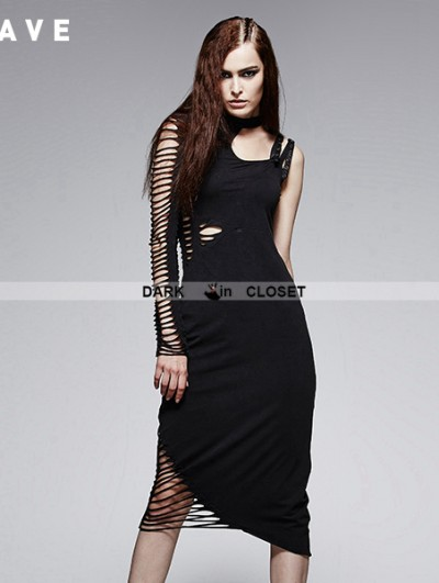 Punk Rave Black Gothic Asymmetric Bum Out Offingle Shoulder Dress