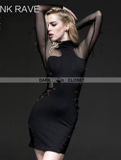 Punk Rave Black Gothic High-collar Mesh Long Sleeves Dress