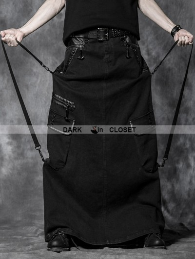 Punk Rave Black Gothic Overlength Pantskirt For Men