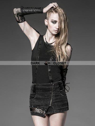 Punk Rave Black Gothic Metal Retro Style Skirt