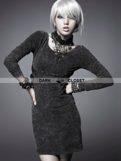 Punk Rave Black Gothic Knitted Washing Dress