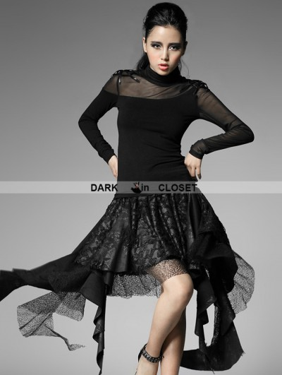 Punk Rave Black Gothic Punk Skirt With Asymmetric And Broken-hole Design