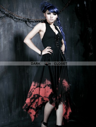 Punk Rave Black-Red Gothic Tie-dyed Sleeveless Dress