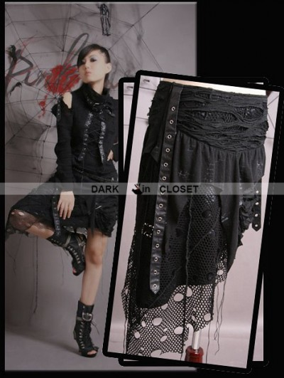 Punk Rave Black Gothic Punk Irregular Skirt