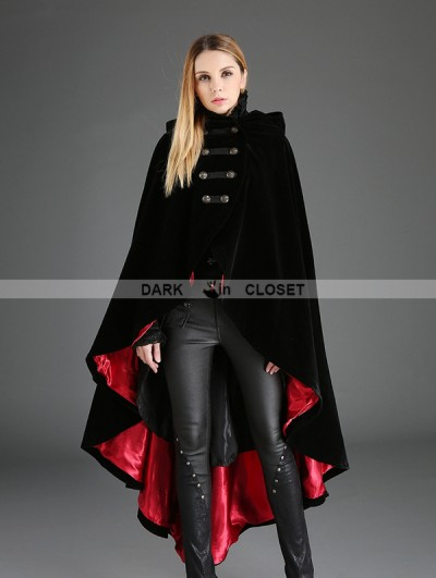 Punk Rave Black Gothic Female Woolen Long Hoodie Coat