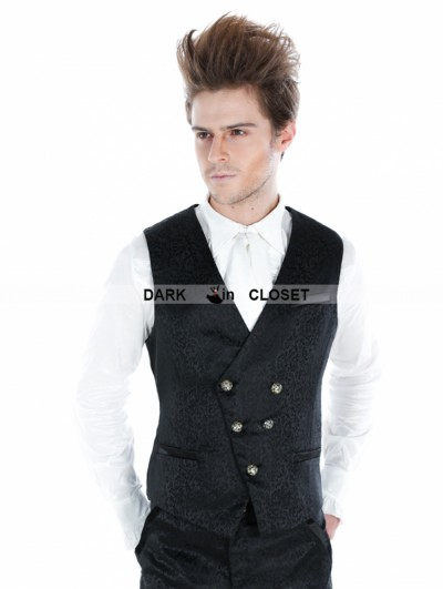 Punk Rave Black Gothic Palace Style Vest For Men