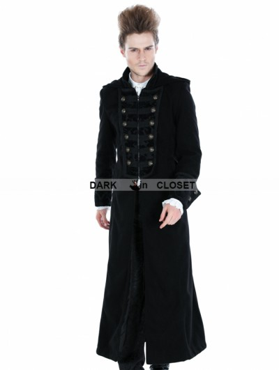 Punk Rave Black Gothic Male Palace Style Overlength Hoodie Coat