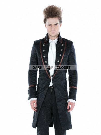Punk Rave Black Gothic Palace Style Mens Long Jacket with Coffee Hem