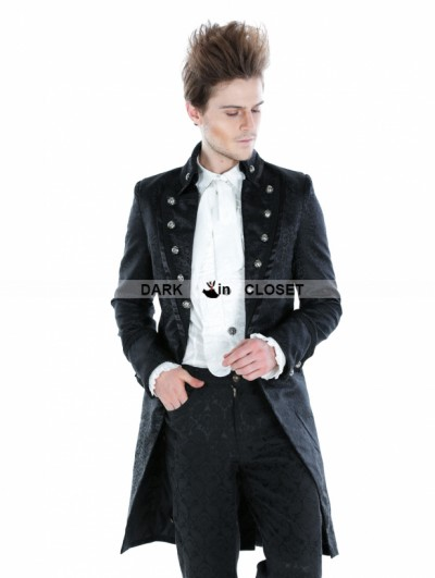Punk Rave Black Gothic Palace Style Long Jacket For Men