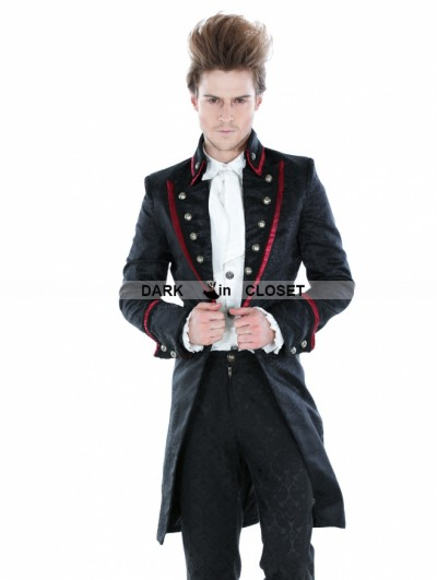 Punk Rave Black Gothic Palace Style Mens Long Jacket with Red Hem