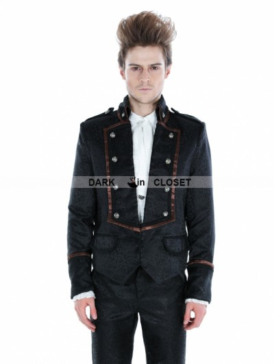 Punk Rave Black Gothic Palace Style Mens Short Jacket with Coffee Hem