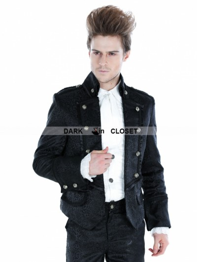 Punk Rave Black Gothic Palace Style Mens Short Jacket