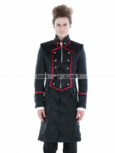 Punk Rave Black Gothic Military Style Male Long Coat with Red Hem