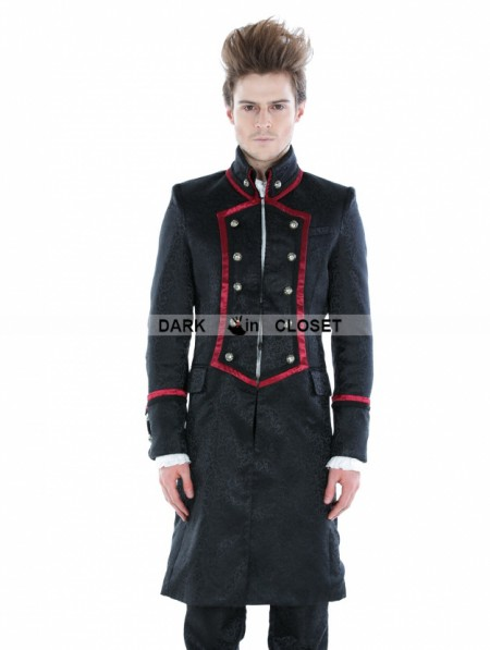 5020ffcf1c3 Pentagramme Black Gothic Military Style Male Long Coat with Red Hem ...