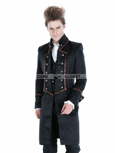 Punk Rave Black Gothic Military Style Male Long Coat with Coffee Hem
