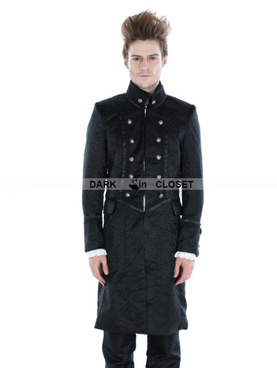 Punk Rave Black Gothic Military Style Male Long Coat