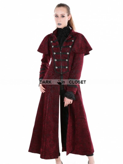Punk Rave Red Gothic Military Style Long Hoodie Cape Coat For Women