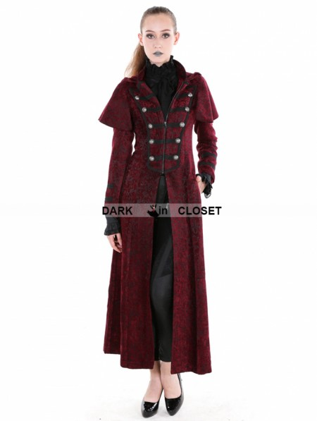 Pentagramme Red Gothic Military Style Long Hoodie Cape